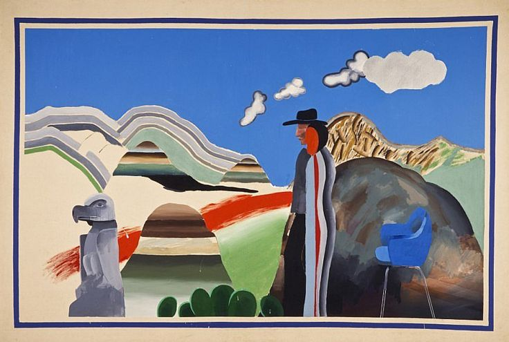 Rocky Mountains and tired Indians, David Hockney, 1965