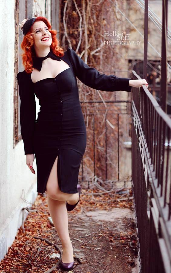 pinup dress blackdress littleblack vintagestyle photo: Hollósi Soff model: Kyra Blaze hair: Diamant Dia Hat: Ozmonda Dress: www.ticci.hu