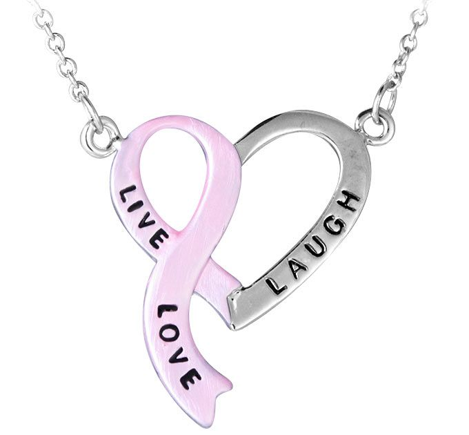 "Live, Laugh, Love"" Pink Ribbon Heart Necklace - Now just $8.99!  Every Purchase Funds Mammograms for Women in Need."