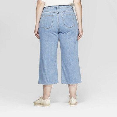 de6247a043a22 Women s Plus Size Wide Leg Crop Jeans - Universal Thread Light Wash ...