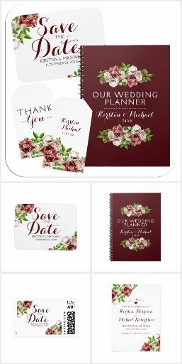 Beautiful burgundy Marsala red watercolor floral wedding suite.