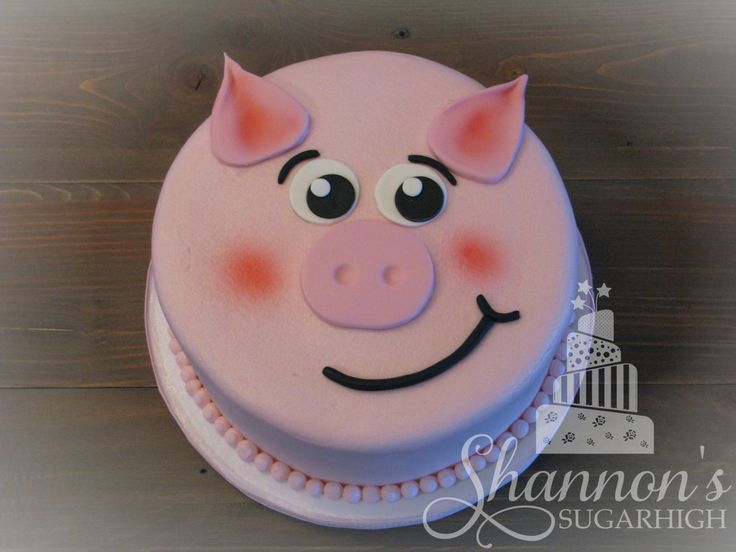 Buttercream piggy cake with fondant accents. Confetti cake with pink, cotton candy flavoured buttercream. Keywords: pig, cute, girl, birthday, oink.