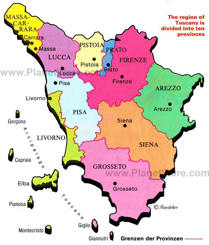 the area of Italy known as Tuscany
