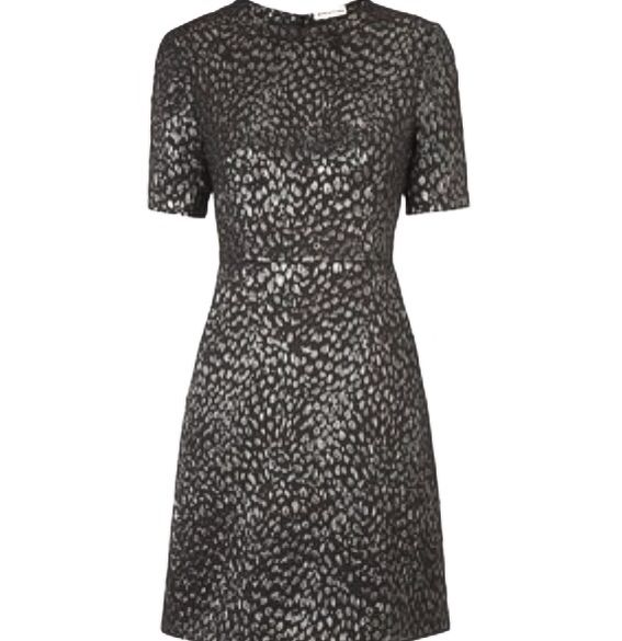 Whistles metallic pewter animal jacquard dress to go with my Dune pewter shoes.