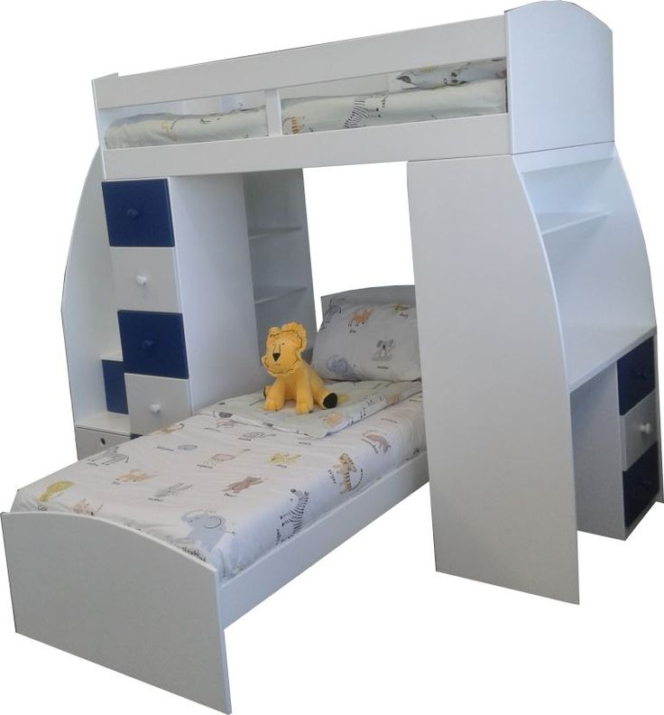This amazing bunk bed has 2 beds, a desk and storage for days. The steps are drawers, there is another drawer unit to the left of the bottom bed and more drawers under the desk. This impressive unit even has 3 shelves for books and accessories. What a space saver for small rooms