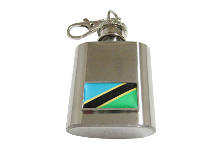 Thin Bordered Tanzania Flag Pendant 1 Oz. Stainless Steel Key Chain Flask