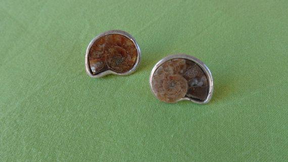 Ammonite shell earrings.An artisan handmade by ArtisticBreaths