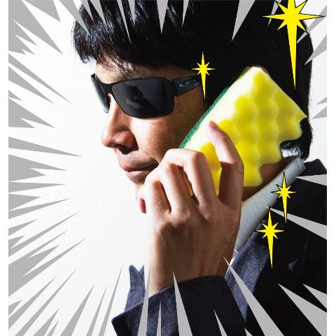 【geodesign】スポ電(キッチンイエロー) キッチンスポンジ型iPhone(アイフォン)用ケース