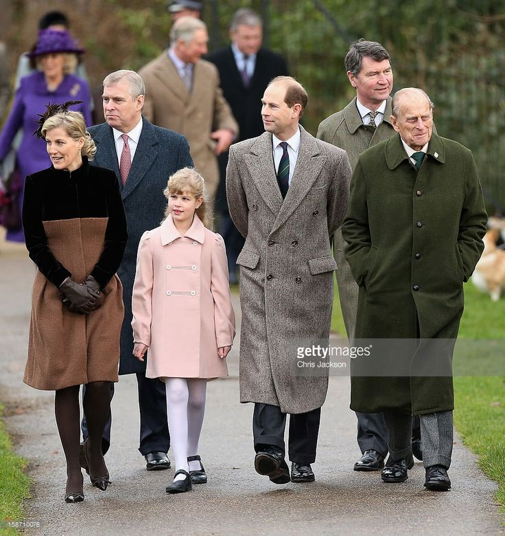 Sophie, Countess of Wessex, Prince Andrew, Duke of York, Lady Louise Windsor, Prince Edward, Earl of Wessex, Vice Admiral Sir Timothy Laurence and Prince Philip, Duke of Edinburgh attend the traditional Christmas Day church service at St Mary Magdalene Church, Sandringham on December 25, 2012 near King's Lynn, England.