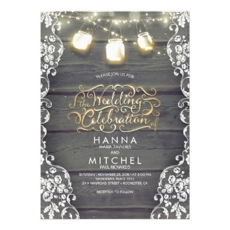 Rustic Mason Jar Lights Wood and Lace Wedding Card - click to get yours right now!
