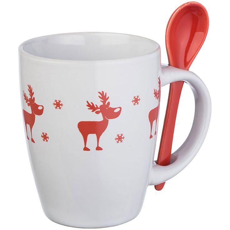 Rénszarvasos karácsonyi kanalas bögre   Napideal