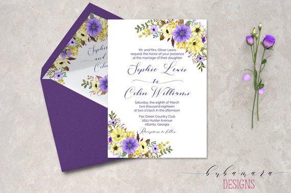 Purple Yellow Wedding Invitation Printable Lavender Floral Summer