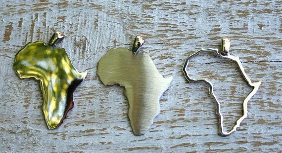 Africa continent pendant, Africa necklace, Continent pendant, Map of Africa 30mm #Pendant