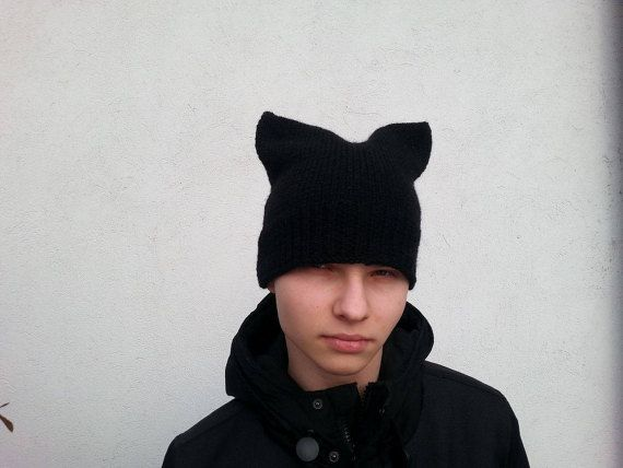 Pussy cat hat  Cat Hat Black Cat Hat  Knit by Isabellwoolstudio