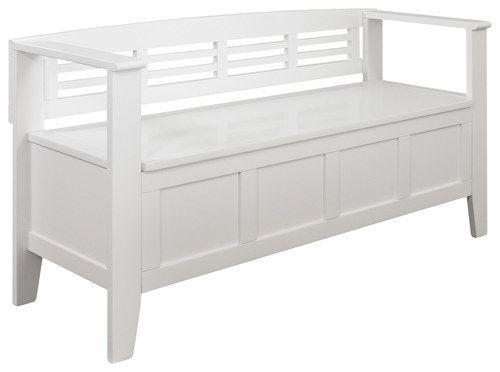 Simpli Home - Adams Entryway Storage Bench - White