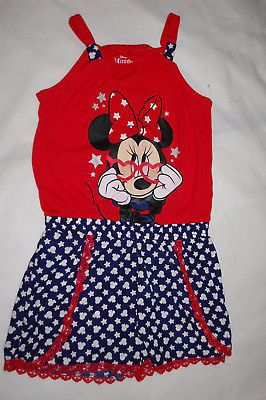 571102e2d389 Jumpsuits and Rompers 175528  Girls Minnie Mouse Shorts Romper Red Navy Blue  Silver Glitter Stars Sz Xl 14-16 -  BUY IT NOW ONLY   19.99 on  eBay   jumpsuits ...