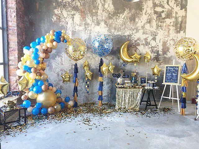 Когда слова лишние 🌙🌟✨💛💙💛💙💛 большая часть воскресенья была посвящена оформлению для маленького Марка в честь первого Дня рождения!  Декор, идея: @blossom_design.com.ua 🎉  Шары, шарики, гирлянды: @miballoons 🎈  Полиграфия: @vishnevska.studio 🖋  Кенди бар: @candybuffet_kiev 🎂  Печенье: @_vsesweet_ 🍪 #evedeso #eventdesignsource - posted by Nastya Gorshkova https://www.instagram.com/nastiaslife. See more Event Designs at http://Evedeso.com
