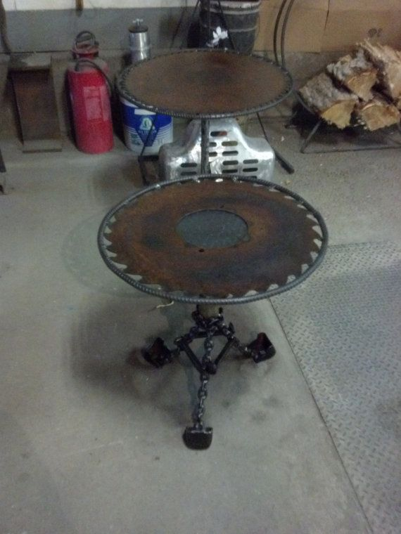 Sawblade End Table With Chain Link Legs By