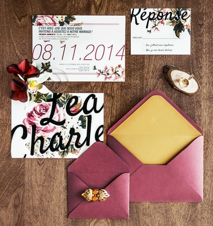 Floral marsala colored wedding invitation suite