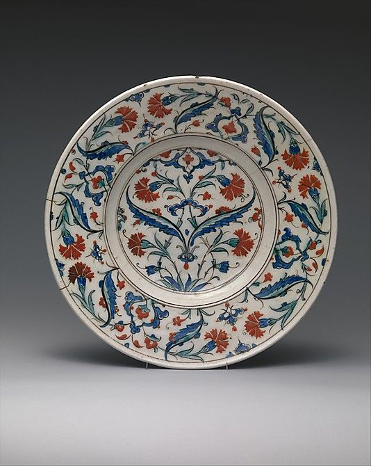 Dish, Date: 16th century Geography: Turkey, Iznik Medium: Stonepaste; underglaze painted on white slip
