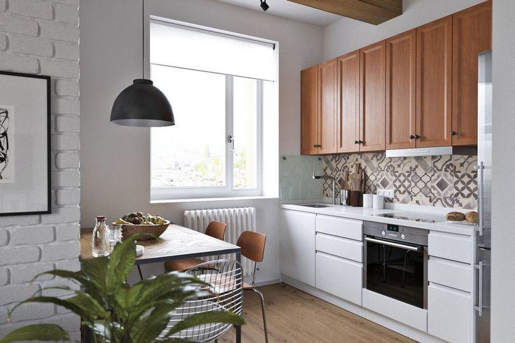 62m2-es lakás tetőtéri hálószobával - friss világos berendezés dekorbeton fa tégla