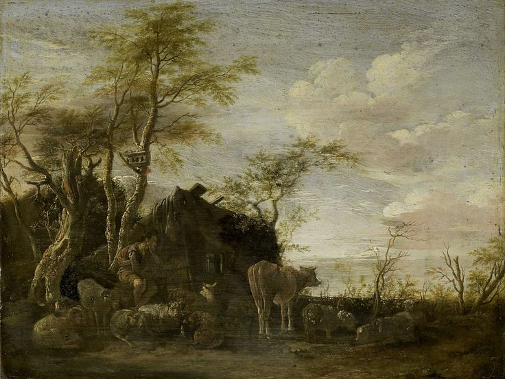 Paulus Potter   A herdsman's hut, Paulus Potter, 1645   Een herdershut tussen geboomte. Voor de hut zit een herder tussen het vee; schapen en een kalf.