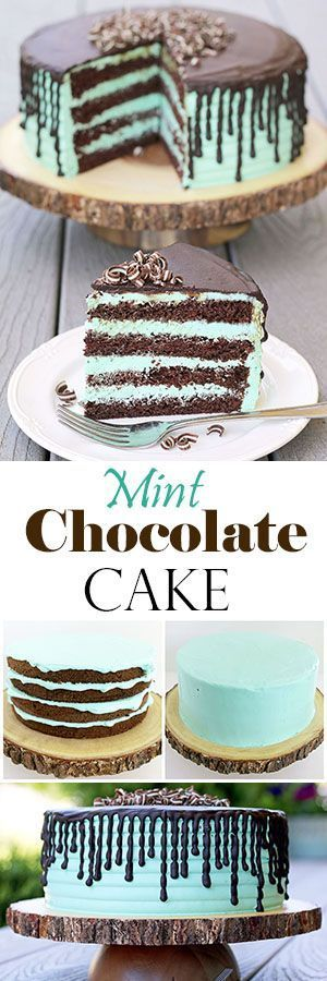 Rich chocolate sponge cake and mint cream is so tasty together and moist you can't stop at one piece. The cake is not only delicious but stunning. The dark brown and mint are beautifully contrasted colors that will make the cake stand out at any occasion.