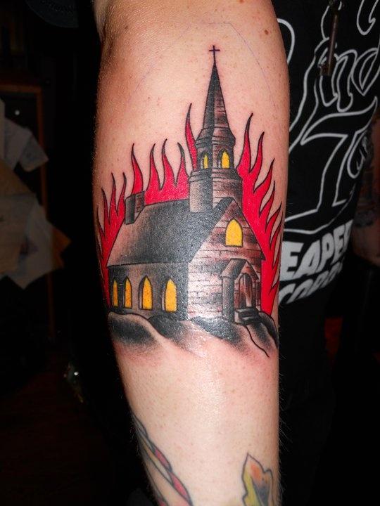 burning church tattoo!  STELLAR!   (MENA!  =)