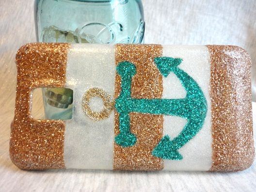 Anchor Phone Case - mod podge and glitter. Definitely doing this for a bday gift!! :)