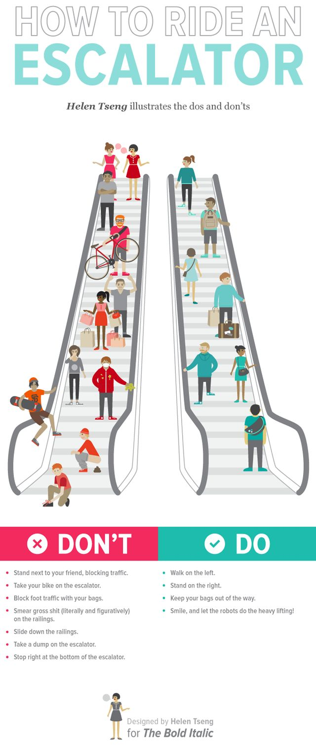 How to ride an escalator: I love the simplicity of this design