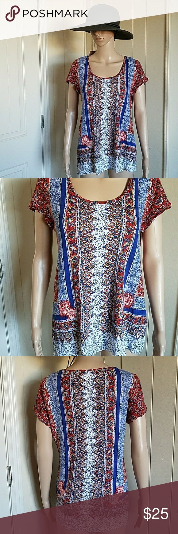 Lucky Brand Scarf Print Tee Red and blue with gold details. Hippie, boho style. Would look great with jean shorts, skinny jeans, or leggings. In good condition. Lucky Brand Tops Tees - Short Sleeve