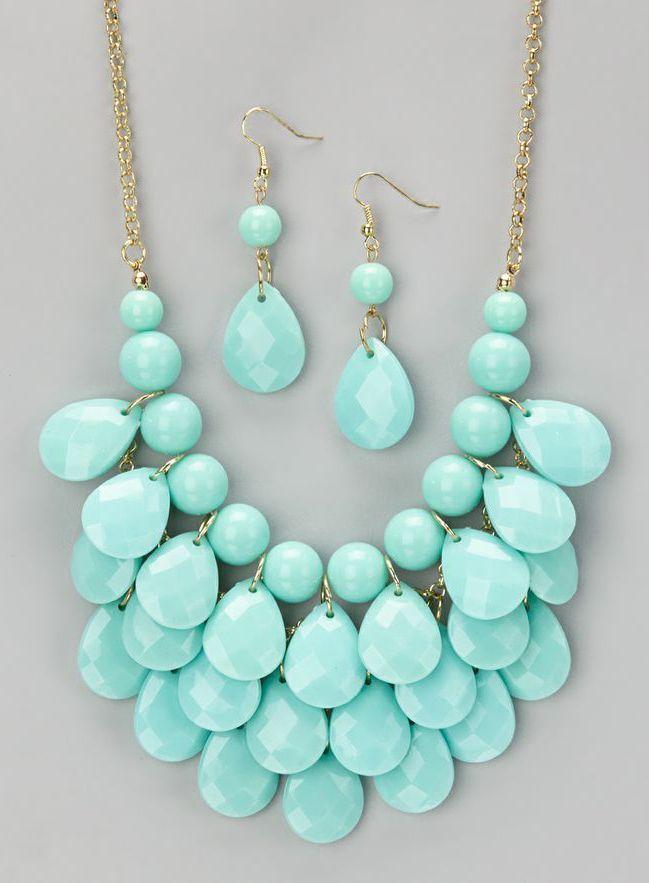 Aqua Waterdrop Necklace & Earrings