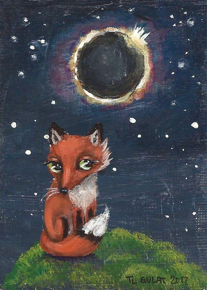 NFAC #ACEO Original #Miniature Acrylic #Painting #Fox Solar #Eclipse Stars Gulat  #FolkArt