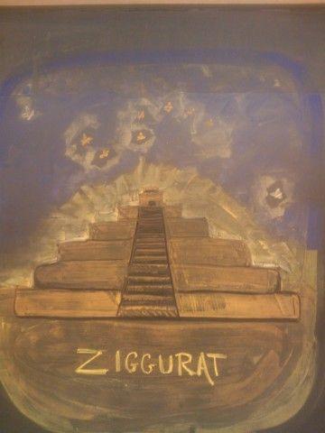 Waldorf ~ 5th grade ~ Ancient Mesopotamia ~ Ziggurat ~ chalkboard drawing
