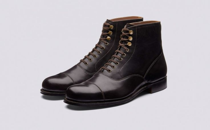 Leander | Mens Derby Boot in Dark Brown Colorado Leather with a Leather Sole | Grenson Shoes - Three Quarter View