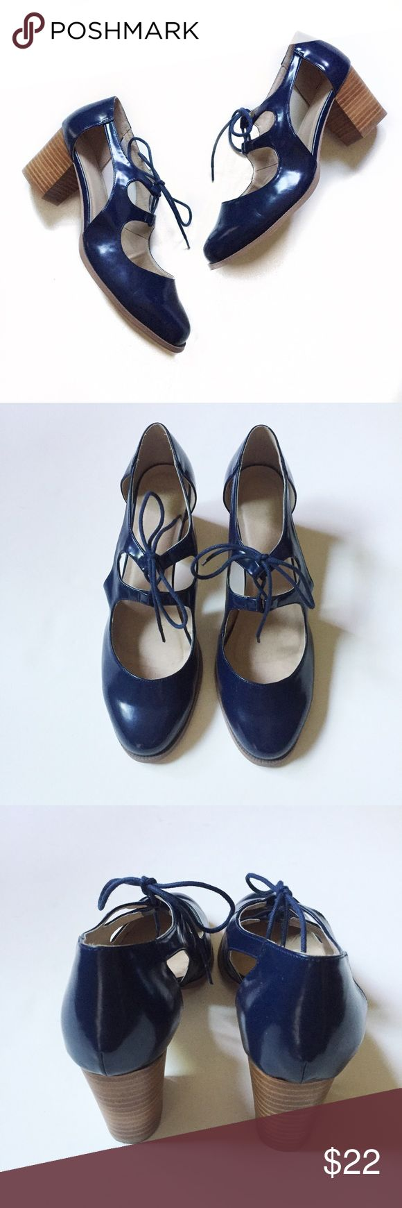 """• asos cut out patent block heels • in great condition. no major signs of wear.   material is patent. color is blue/navy.   heel height is just under 3"""". Asos Shoes Heels"""