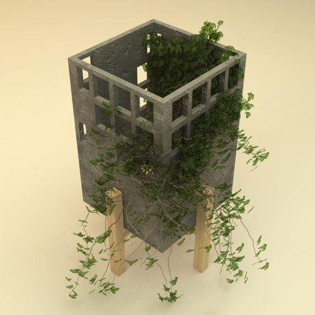 Maceta elaborada en hormigón con base de madera.  El diseño de esta maceta esta pensado para que las plantas se adhieran a su superficie y evocar así un edificio abandonado que es absorbido por la naturaleza. Esta maceta ha sido diseñada y construida artesanalmente en los talleres OBJ.diseño.