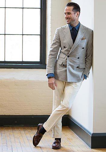 グレーダブルジャケット白パンツ <スーツジャケット人気おすすめ参考一覧>
