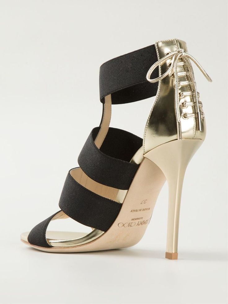 Black and gold-tone leather 'Dario' sandals from Jimmy Choo