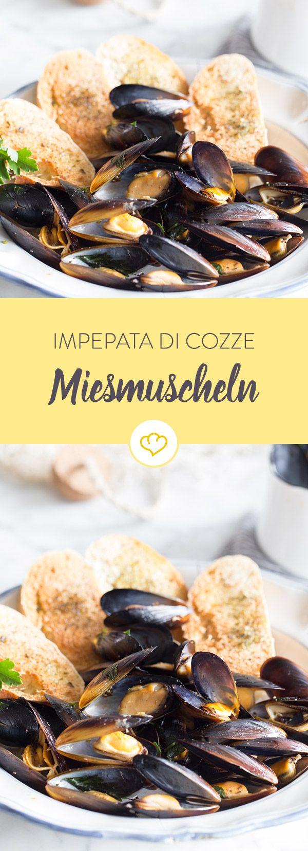 Wenn du von deinem letzten Urlaub träumst, dann zaubern dir Miesmuscheln und Crostini - Impepata di Cozze - italienisches Flair auf deinen Teller.