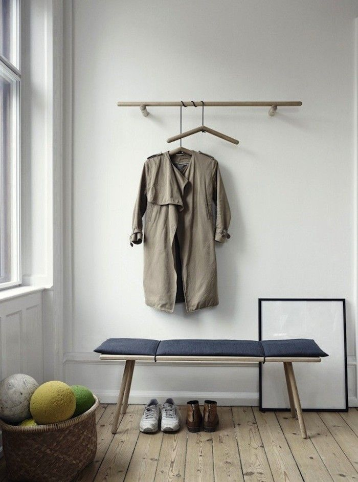 The series consists of a bracket table, a bench, a stool, a mirror, and a clothes rack with hangers.  K.I.S.S.