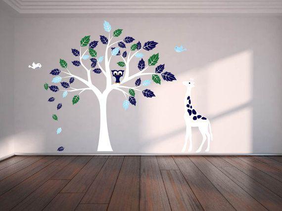 wall decals tree decal owl tree giraffe vinyl tree by wallinspired