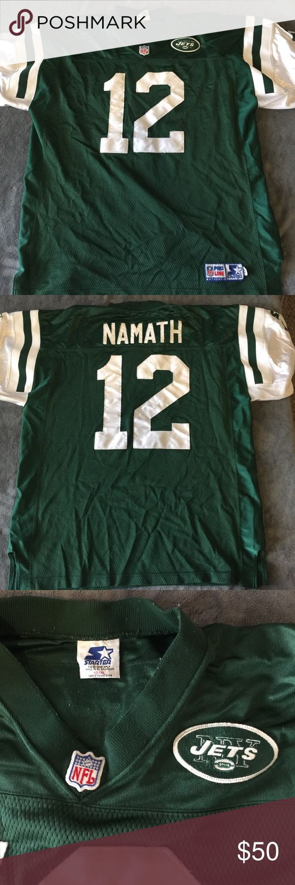 🏉NY Jets Namath reproduction jersey. Size XL/52🏉 Great football jersey for a legendary player. New York Jets Joe Namath #12. This is a reproduction. Great for football season and all Monday morning quarterbacks. Starter NFL Pro Line Other