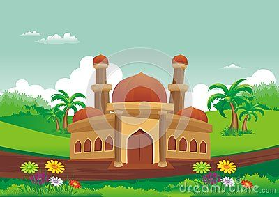 Islamic cartoons, mosque with a backdrop of beautiful view, pretty and…