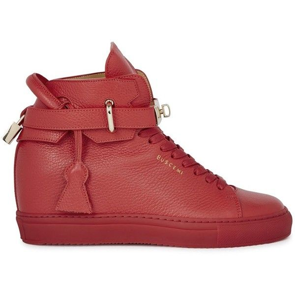Buscemi Alta Red Wedge Hi-top Trainers - Size 4 (£670) ❤ liked on Polyvore featuring shoes, sneakers, lace up wedge sneakers, hidden wedge shoes, wedge sneakers, hidden wedge sneakers and red wedge sneakers