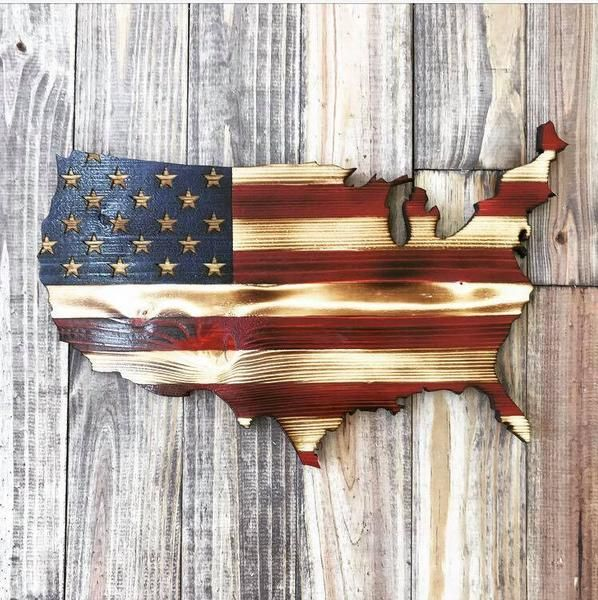 Charred American U.S.A. Cutout |  The Rustic Flag Company