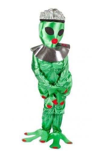 Alien vrouw kostuum. Grappig kostuum van een vrouwelijke alien. Het complete kostuum bestaat uit jumpsuit en masker wordt geleverd inclusief schoenhoezen en past tot maat L.