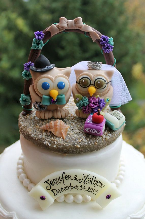 Owl cake topper with arch and sand base beach by PerlillaPets