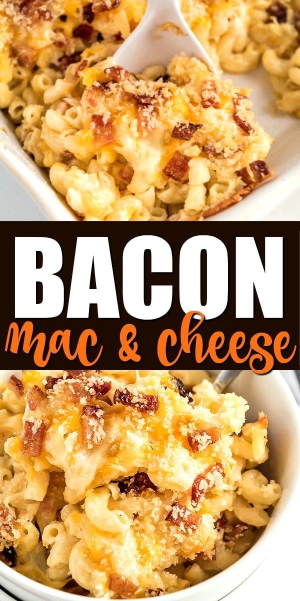 This recipe for bacon mac and cheese is comfort food at it's best! Baked in the oven from scratch, it's loaded with extra cheese and tender noodles -- and with plenty of bacon, of course. Bacon Mac And Cheese Recipe Baked, Best Macaroni And Cheese, Macaroni Cheese Recipes, Easy Mac And Cheese, Bacon Egg And Cheese, Mac And Cheese Homemade, Mac N Cheese Casserole, Bacon Bacon, Chicken Mac N Cheese Recipe