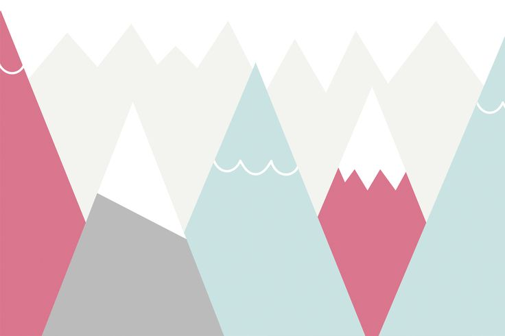 Keeping your home modern and stylish doesn't have to end when it comes to your child's bedroom. Our exclusiveKids Pink and Blue Mountains Wall Mural isa cool, minimal design featuring triangle cartoon mountains in block pink, blue and gray pastel colors against a soft beige mountain range backdrop. This fresh mural will make a room...  Read more »
